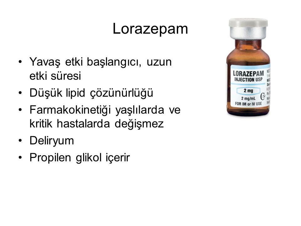 Lorazepam Yavaş etki başlangıcı, uzun etki süresi Düşük lipid çözünürlüğü Farmakokinetiği yaşlılarda ve kritik hastalarda değişmez Deliryum Propilen glikol içerir