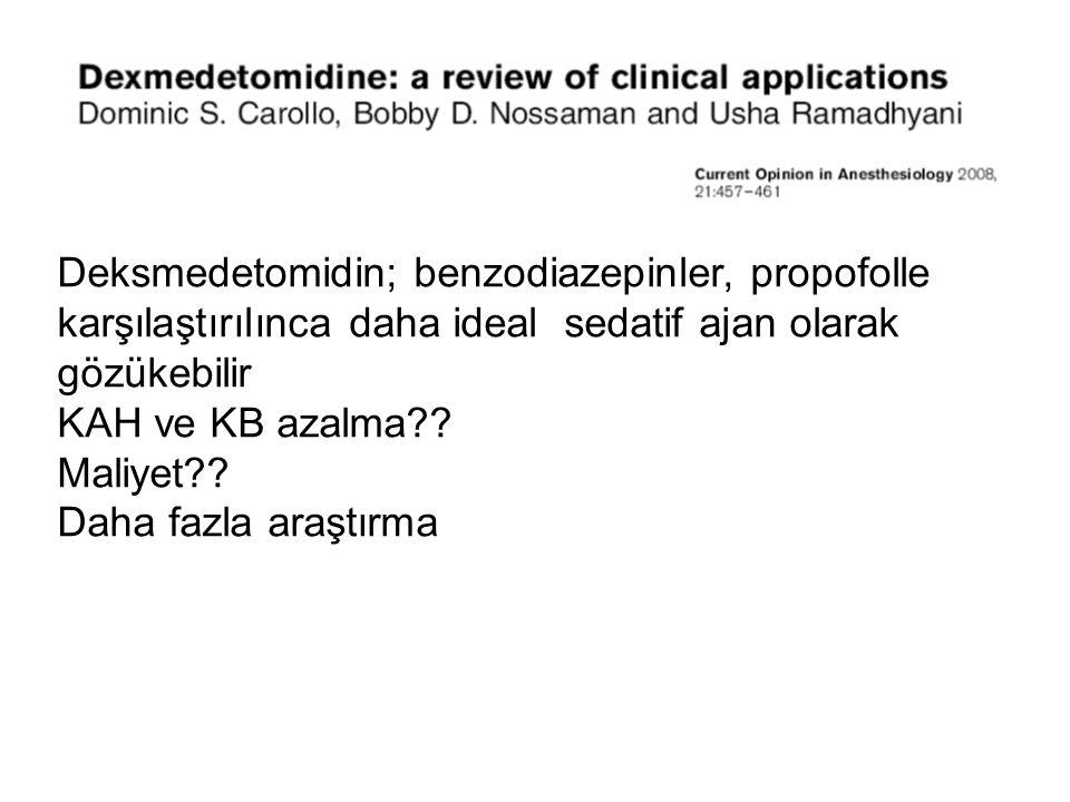 Deksmedetomidin; benzodiazepinler, propofolle karşılaştırılınca daha ideal sedatif ajan olarak gözükebilir KAH ve KB azalma?? Maliyet?? Daha fazla ara
