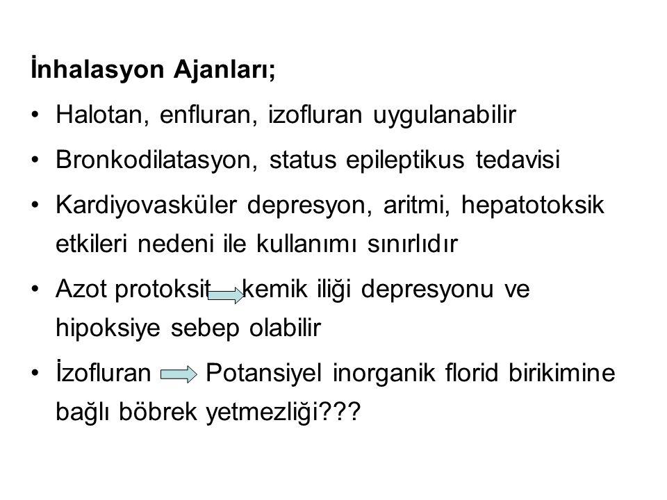 İnhalasyon Ajanları; Halotan, enfluran, izofluran uygulanabilir Bronkodilatasyon, status epileptikus tedavisi Kardiyovasküler depresyon, aritmi, hepat