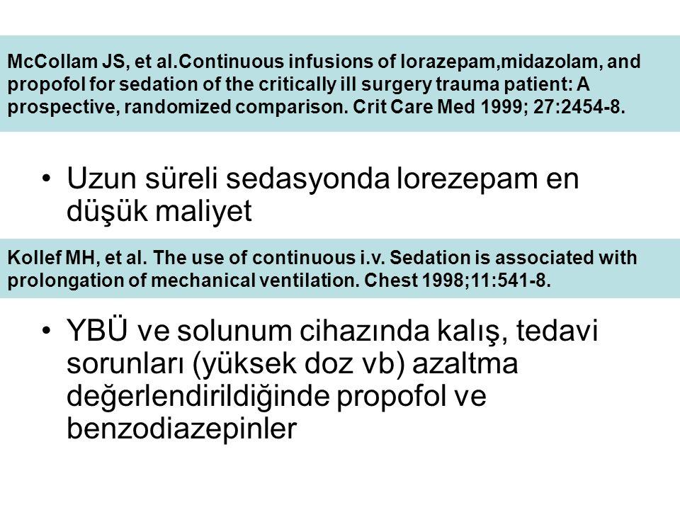 Uzun süreli sedasyonda lorezepam en düşük maliyet YBÜ ve solunum cihazında kalış, tedavi sorunları (yüksek doz vb) azaltma değerlendirildiğinde propofol ve benzodiazepinler McCollam JS, et al.Continuous infusions of lorazepam,midazolam, and propofol for sedation of the critically ill surgery trauma patient: A prospective, randomized comparison.
