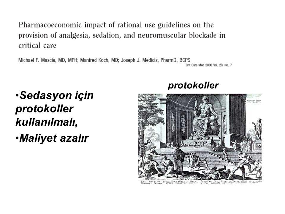 Sedasyon için protokoller kullanılmalı, Maliyet azalır protokoller