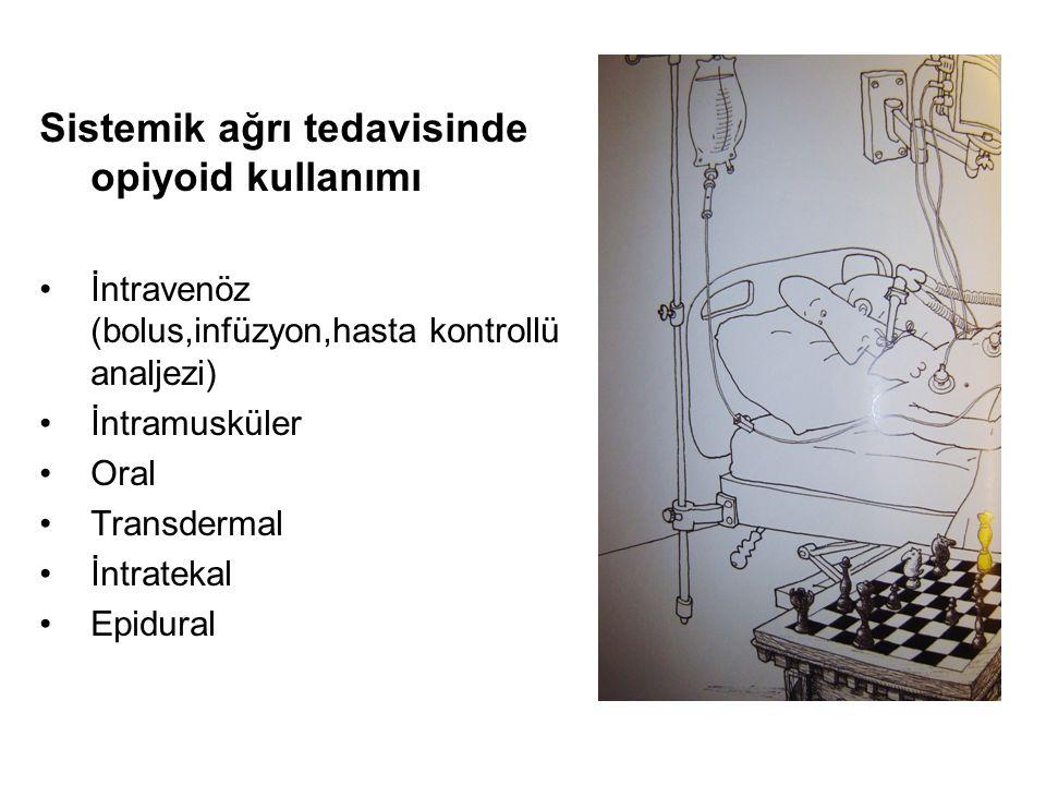 Sistemik ağrı tedavisinde opiyoid kullanımı İntravenöz (bolus,infüzyon,hasta kontrollü analjezi) İntramusküler Oral Transdermal İntratekal Epidural