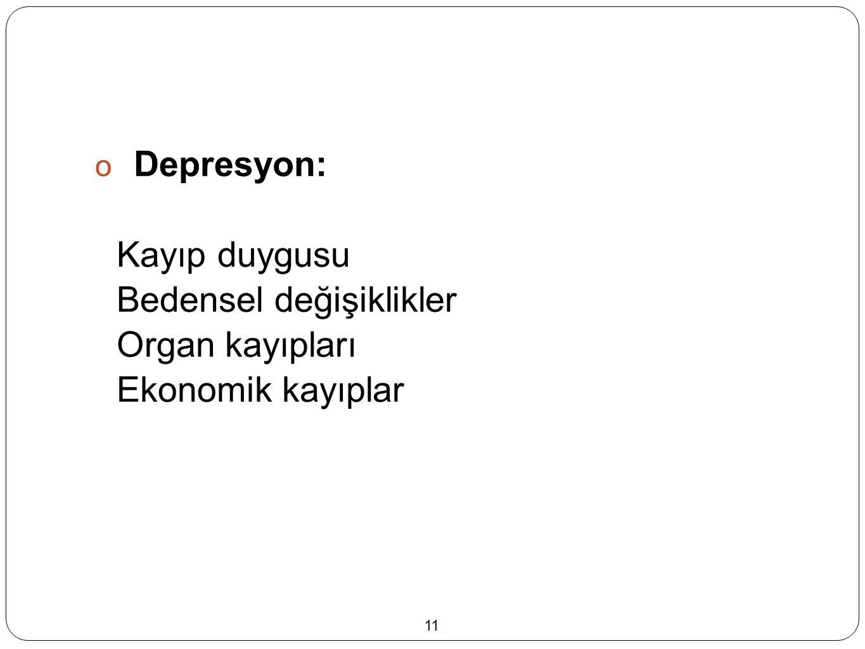  Depresyon: Kayıp duygusu Bedensel değişiklikler Organ kayıpları Ekonomik kayıplar 11