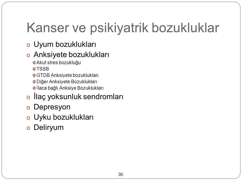 Kanser ve psikiyatrik bozukluklar  Uyum bozuklukları  Anksiyete bozuklukları  Akut stres bozukluğu  TSSB  GTDB Anksiyete bozuklukları  Diğer Anksiyete Bozuklukları  İlaca bağlı Anksiye Bozuklukları  İlaç yoksunluk sendromları  Depresyon  Uyku bozuklukları  Deliryum 30