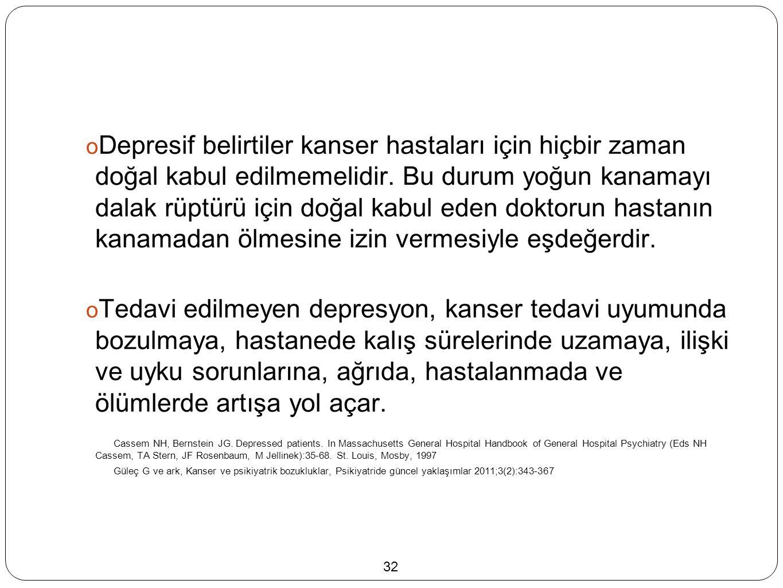  Depresif belirtiler kanser hastaları için hiçbir zaman doğal kabul edilmemelidir.