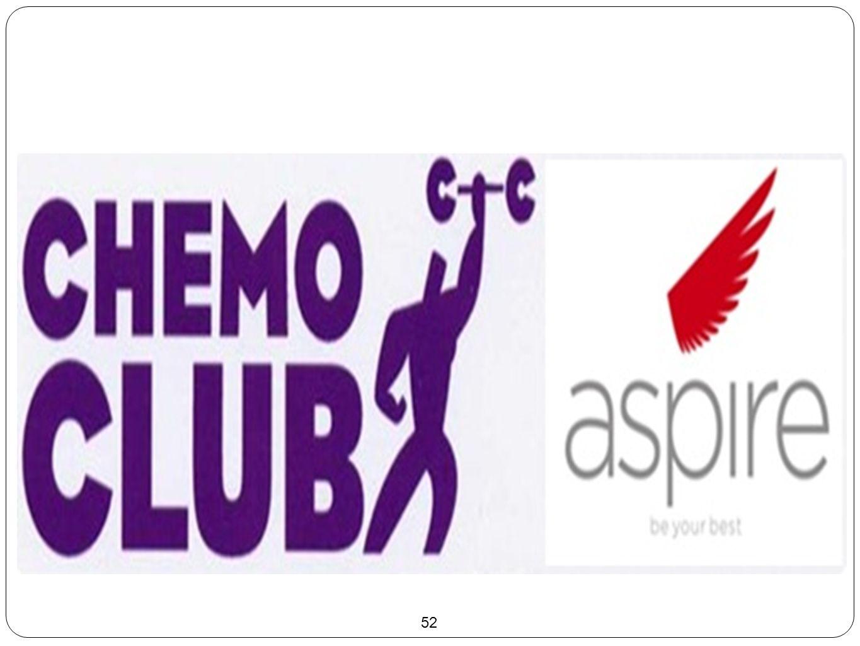 Chemo Club  Batı Avusturalya'da Sir Charles Gairdner Hospital ve Aspire fitness Centre ortak girişimidir  Egzersiz seansları hepsi gönüllü olan fizyoterapist, egzersiz fizyologu ve alıştırma hemşiresi tarafından yapılmaktadır  Haftada 2 iki gün, bir saat yapılır  Seans yürüyüşle başlıyor ve daha sonra hastalara ihtiyaç ve kapasitelerine göre çeşitle çalışmalar yaptırılıyor McGrath, P et al, Benefits from Participation in the Chemo Club: Psychosocial Insights on an Exercise Program for Cancer Patients, Journal of Psychosocial Oncology Volume 29,1, 2010 53