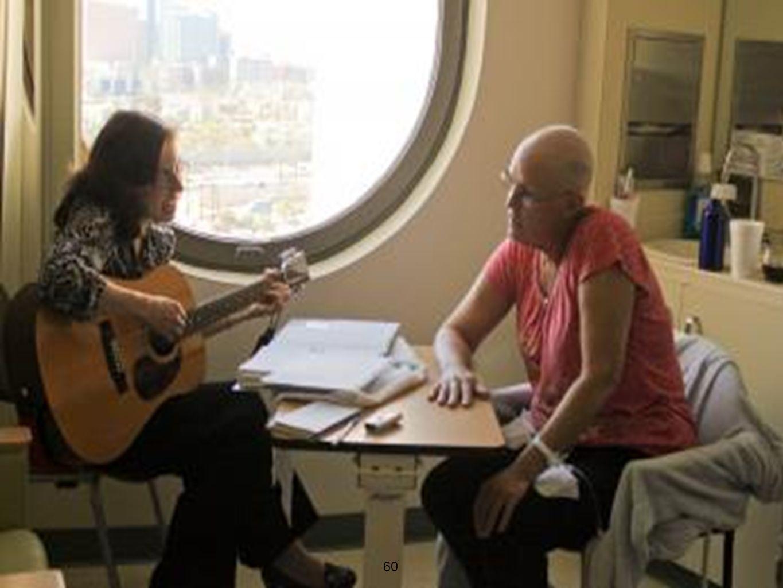 Kemoterapi sırasında müzik terapisi  Kemoterapi sırasında  Hastannın rahat bir pozisyonda oturması istenerek  Kemoterapinin amacına ulaştığını hayal etmeleri konusunda cesaretlendirilerek  Tüm dikkatleri müziğe vermeleri istenerek uygulanır Yıldırım S,Gürkan A,Müziğin, kemoterapi yan etkilerine ve kaygı düzeyine etkisi, Anadolu Psikiyatri Dergisi 2007; 8:37-45 61