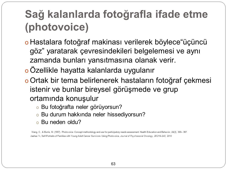 """Sağ kalanlarda fotoğrafla ifade etme (photovoice)  Hastalara fotoğraf makinası verilerek böylece""""üçüncü göz"""" yaratarak çevresindekileri belgelemesi v"""