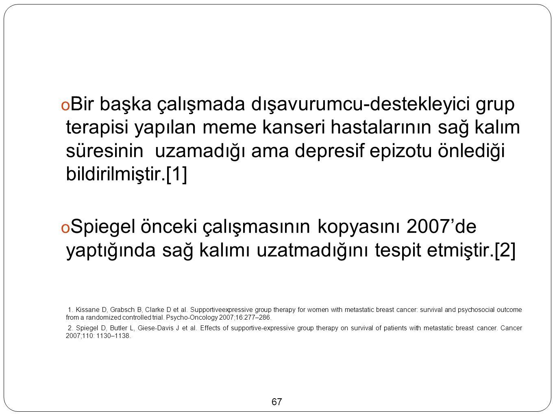  Bir başka çalışmada dışavurumcu-destekleyici grup terapisi yapılan meme kanseri hastalarının sağ kalım süresinin uzamadığı ama depresif epizotu önlediği bildirilmiştir.[1]  Spiegel önceki çalışmasının kopyasını 2007'de yaptığında sağ kalımı uzatmadığını tespit etmiştir.[2] 1.