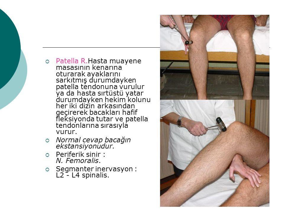  Patella R.Hasta muayene masasının kenarına oturarak ayaklarını sarkıtmış durumdayken patella tendonuna vurulur ya da hasta sırtüstü yatar durumdayke