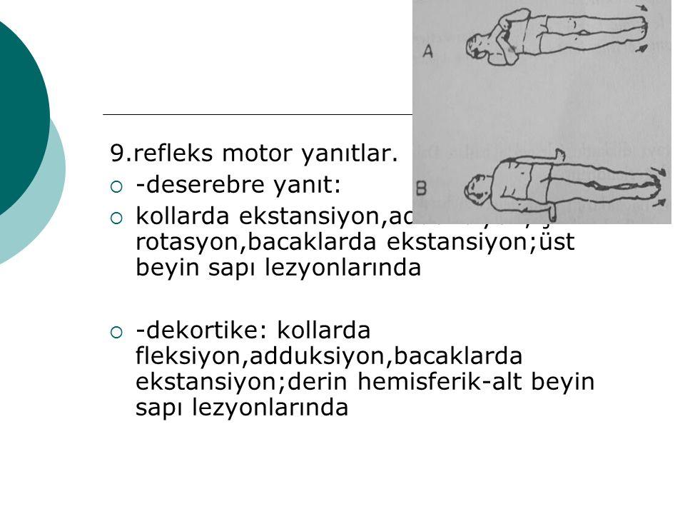 9.refleks motor yanıtlar.  -deserebre yanıt:  kollarda ekstansiyon,adduksiyon,iç rotasyon,bacaklarda ekstansiyon;üst beyin sapı lezyonlarında  -dek