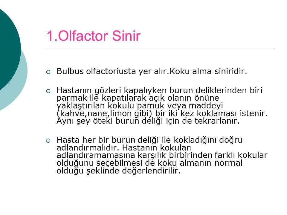 1.Olfactor Sinir  Bulbus olfactoriusta yer alır.Koku alma siniridir.  Hastanın gözleri kapalıyken burun deliklerinden biri parmak ile kapatılarak aç
