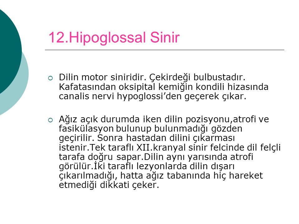 12.Hipoglossal Sinir  Dilin motor siniridir. Çekirdeği bulbustadır. Kafatasından oksipital kemiğin kondili hizasında canalis nervi hypoglossi'den geç