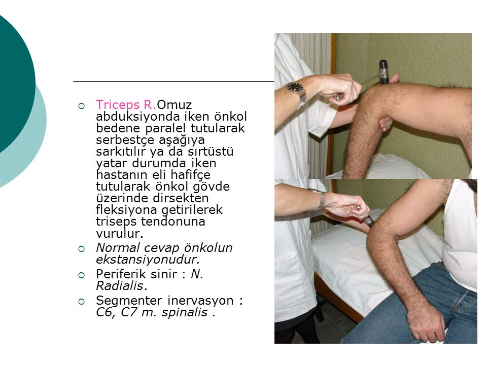  Triceps R.Omuz abduksiyonda iken önkol bedene paralel tutularak serbestçe aşağıya sarkıtılır ya da sırtüstü yatar durumda iken hastanın eli hafifçe
