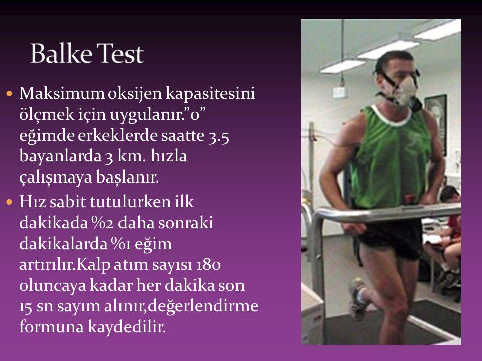 """Maksimum oksijen kapasitesini ölçmek için uygulanır.""""0"""" eğimde erkeklerde saatte 3.5 bayanlarda 3 km. hızla çalışmaya başlanır. Hız sabit tutulurken i"""