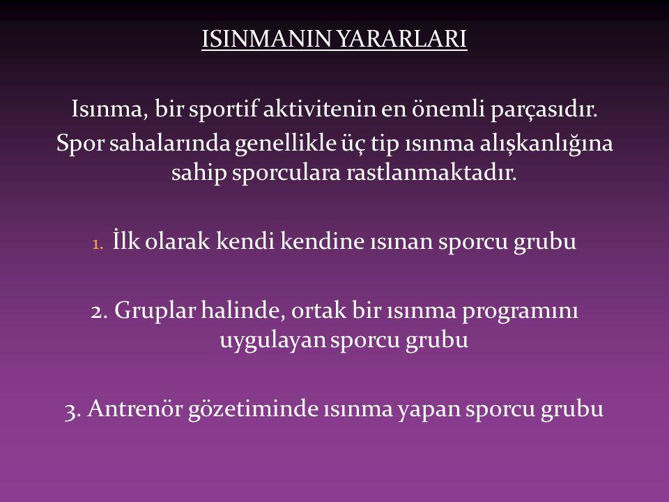 ISINMANIN YARARLARI Isınma, bir sportif aktivitenin en önemli parçasıdır. Spor sahalarında genellikle üç tip ısınma alışkanlığına sahip sporculara ras