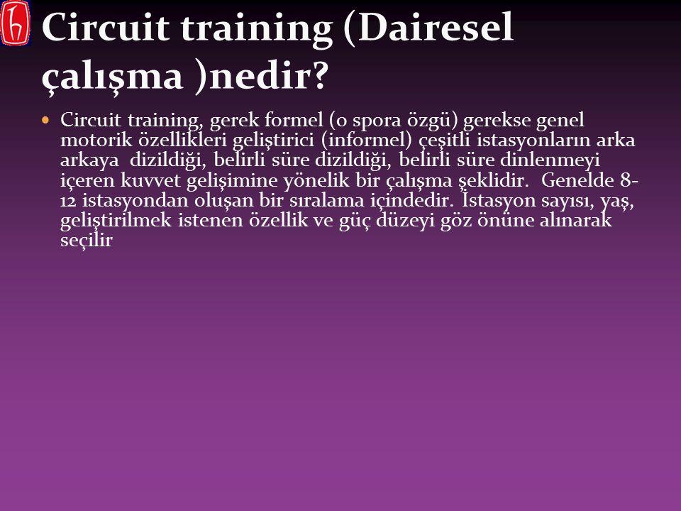 Circuit training (Dairesel çalışma )nedir? Circuit training, gerek formel (o spora özgü) gerekse genel motorik özellikleri geliştirici (informel) çeşi