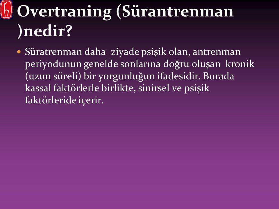 Overtraning (Sürantrenman )nedir? Süratrenman daha ziyade psişik olan, antrenman periyodunun genelde sonlarına doğru oluşan kronik (uzun süreli) bir y