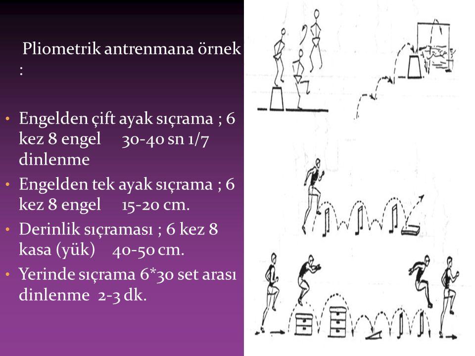 Pliometrik antrenmana örnek : Engelden çift ayak sıçrama ; 6 kez 8 engel 30-40 sn 1/7 dinlenme Engelden tek ayak sıçrama ; 6 kez 8 engel 15-20 cm.