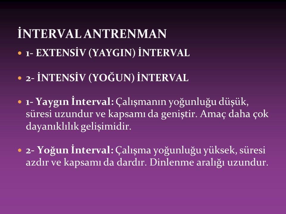 İNTERVAL ANTRENMAN 1- EXTENSİV (YAYGIN) İNTERVAL 2- İNTENSİV (YOĞUN) İNTERVAL 1- Yaygın İnterval: Çalışmanın yoğunluğu düşük, süresi uzundur ve kapsamı da geniştir.