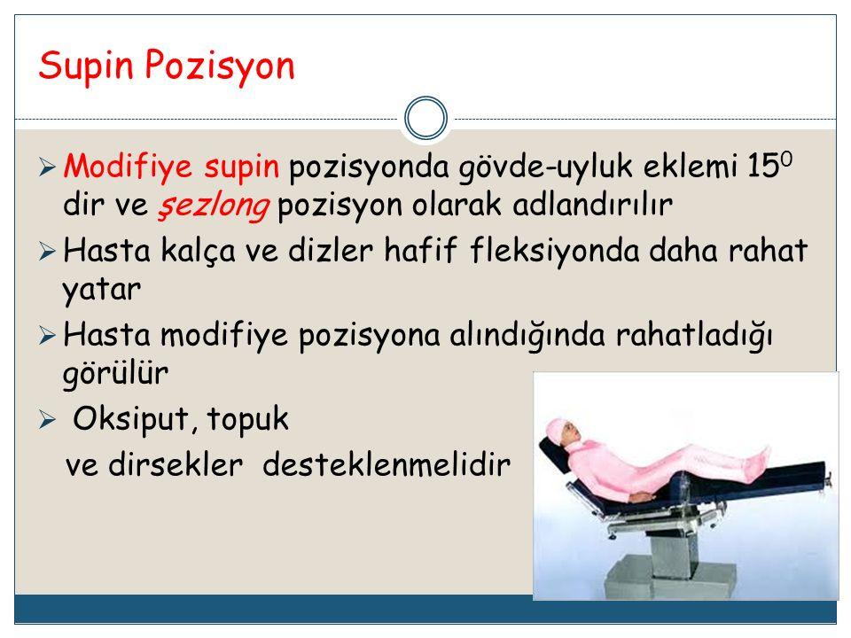 Supin Pozisyon  Modifiye supin pozisyonda gövde-uyluk eklemi 15 0 dir ve şezlong pozisyon olarak adlandırılır  Hasta kalça ve dizler hafif fleksiyon