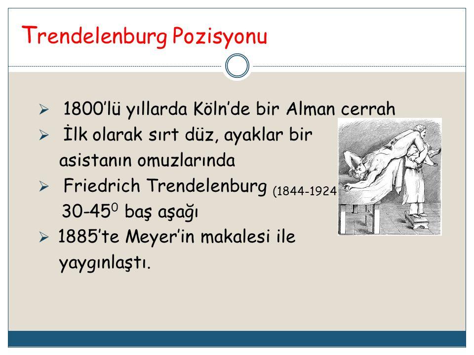 T rendelenburg Pozisyonu  1800'lü yıllarda Köln'de bir Alman cerrah  İlk olarak sırt düz, ayaklar bir asistanın omuzlarında  Friedrich Trendelenbur