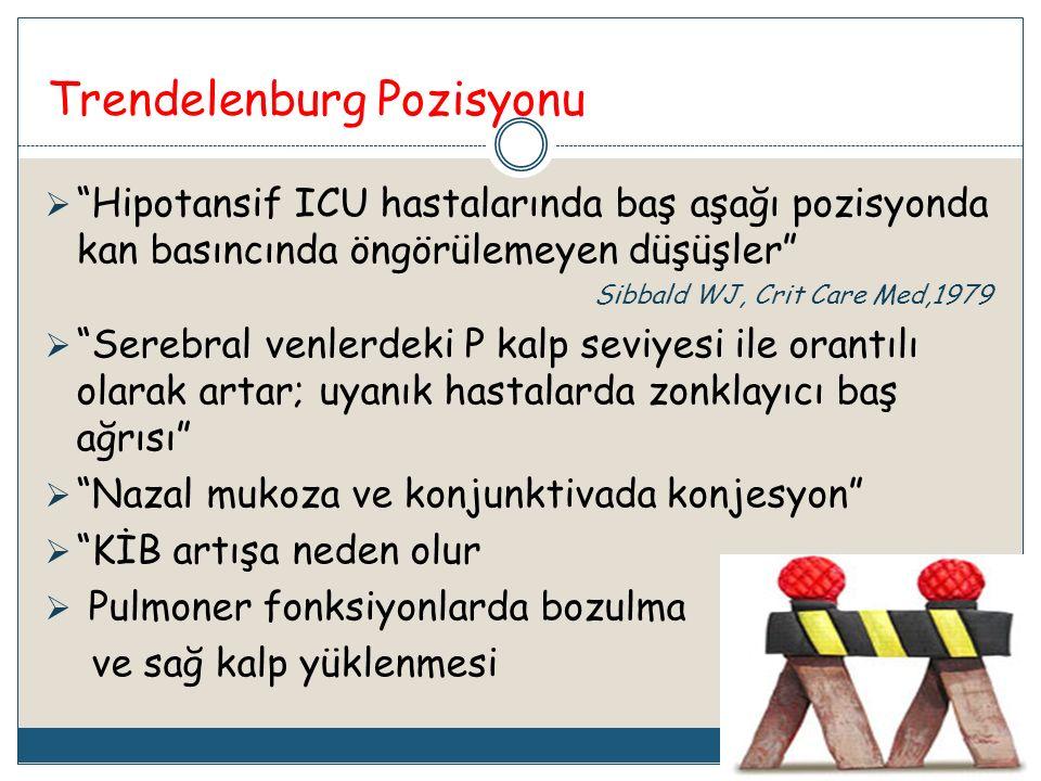 """Trendelenburg Pozisyonu  """"Hipotansif ICU hastalarında baş aşağı pozisyonda kan basıncında öngörülemeyen düşüşler"""" Sibbald WJ, Crit Care Med,1979  """"S"""