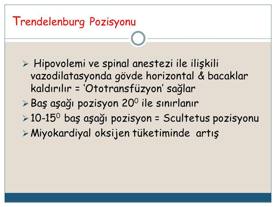 T rendelenburg Pozisyonu  Hipovolemi ve spinal anestezi ile ilişkili vazodilatasyonda gövde horizontal & bacaklar kaldırılır = 'Ototransfüzyon' sağla