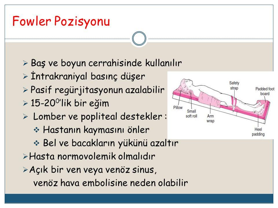 Fowler Pozisyonu  Baş ve boyun cerrahisinde kullanılır  İntrakraniyal basınç düşer  Pasif regürjitasyonun azalabilir  15-20 0 'lik bir eğim  Lomb