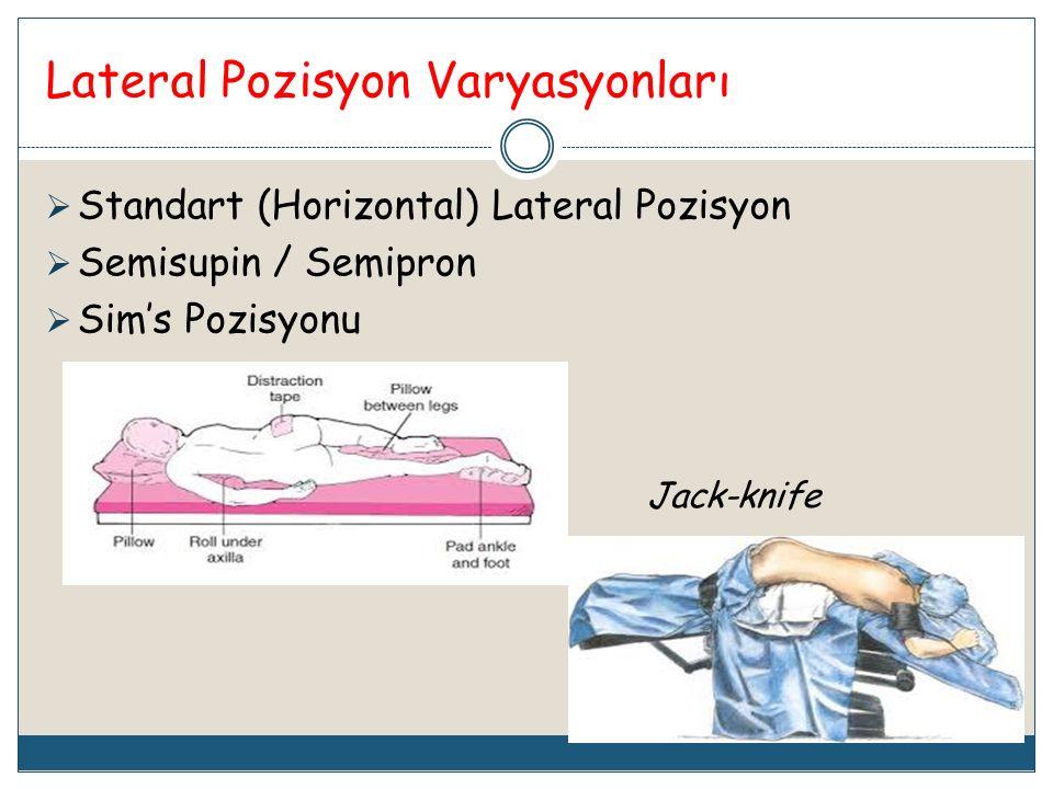 Lateral Pozisyon Varyasyonları  Standart (Horizontal) Lateral Pozisyon  Semisupin / Semipron  Sim's Pozisyonu Jack-knife