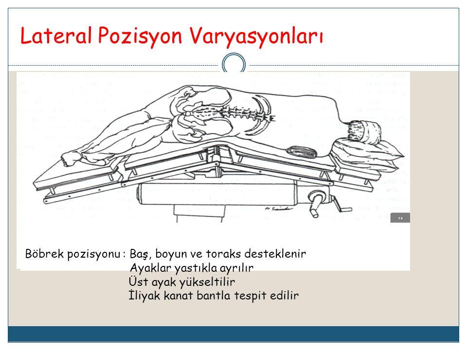 Lateral Pozisyon Varyasyonları Böbrek pozisyonu : Baş, boyun ve toraks desteklenir Ayaklar yastıkla ayrılır Üst ayak yükseltilir İliyak kanat bantla t