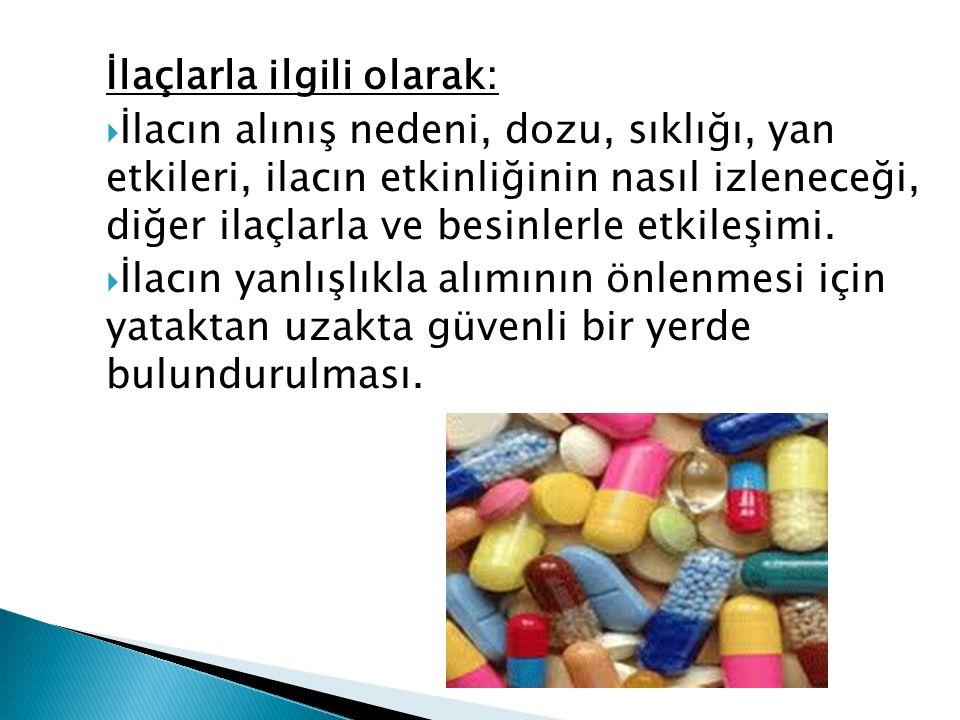 İlaçlarla ilgili olarak:  İlacın alınış nedeni, dozu, sıklığı, yan etkileri, ilacın etkinliğinin nasıl izleneceği, diğer ilaçlarla ve besinlerle etkileşimi.