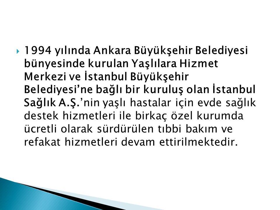  1994 yılında Ankara Büyükşehir Belediyesi bünyesinde kurulan Yaşlılara Hizmet Merkezi ve İstanbul Büyükşehir Belediyesi'ne bağlı bir kuruluş olan İstanbul Sağlık A.Ş.'nin yaşlı hastalar için evde sağlık destek hizmetleri ile birkaç özel kurumda ücretli olarak sürdürülen tıbbi bakım ve refakat hizmetleri devam ettirilmektedir.