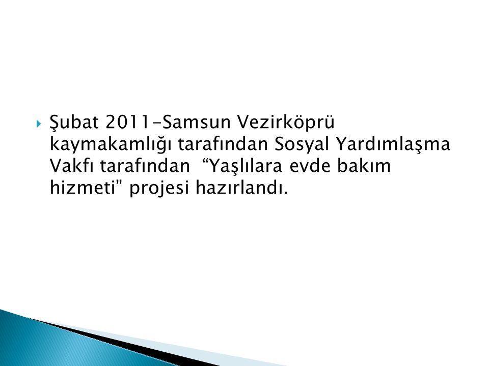  Şubat 2011-Samsun Vezirköprü kaymakamlığı tarafından Sosyal Yardımlaşma Vakfı tarafından Yaşlılara evde bakım hizmeti projesi hazırlandı.
