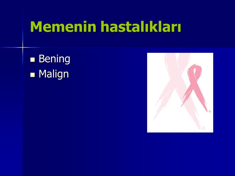 Memenin Bening Hastalıkları Fibrokistik değişiklikler ve fibro adenom Fibrokistik değişiklikler ve fibro adenom Mastalji (memede ağrı, hassasiyet) Mastalji (memede ağrı, hassasiyet) Mastit, abseler Mastit, abseler Meme ucu anormallikleri Meme ucu anormallikleri Yağ nekrozu Yağ nekrozu Mesiner, ALW, Fekrazad MH, Royce M, Breast Disease: Benign and MalignantMed Clin N Am, 92 (2008) 1115–1141