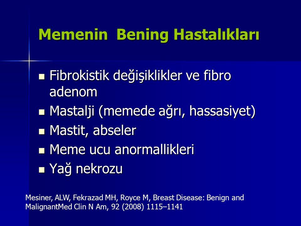Memenin Bening Hastalıkları Fibrokistik değişiklikler ve fibro adenom Fibrokistik değişiklikler ve fibro adenom Mastalji (memede ağrı, hassasiyet) Mas