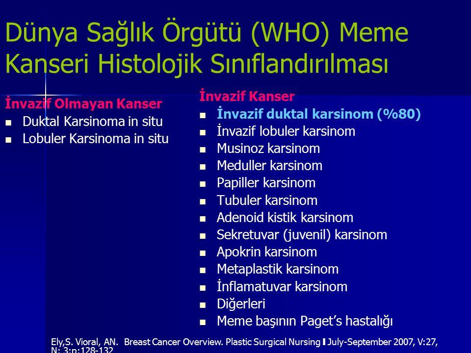 Dünya Sağlık Örgütü (WHO) Meme Kanseri Histolojik Sınıflandırılması İnvazif Olmayan Kanser Duktal Karsinoma in situ Lobuler Karsinoma in situ İnvazif
