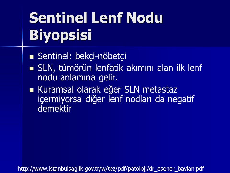 Sentinel Lenf Nodu Biyopsisi Sentinel: bekçi-nöbetçi SLN, tümörün lenfatik akımını alan ilk lenf nodu anlamına gelir. Kuramsal olarak eğer SLN metasta