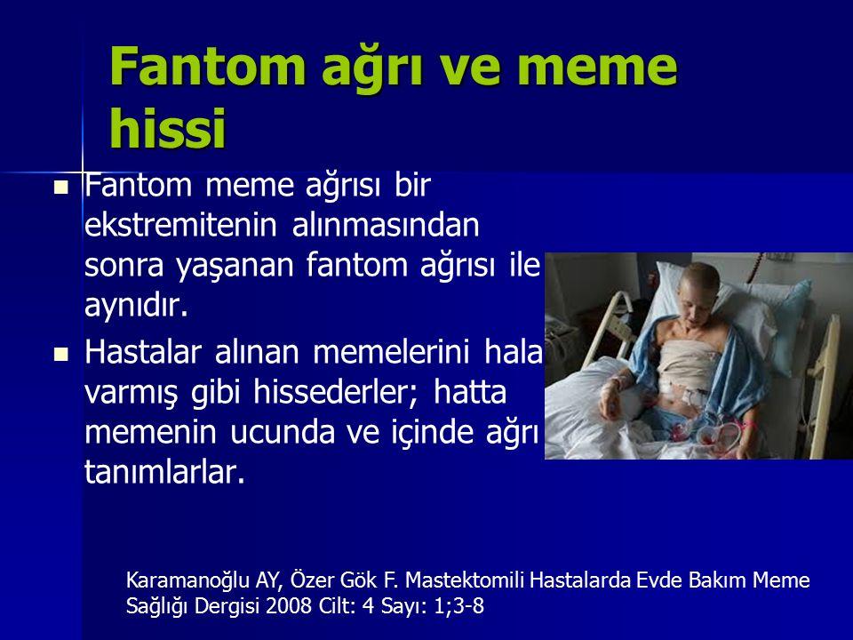 Fantom ağrı ve meme hissi Fantom meme ağrısı bir ekstremitenin alınmasından sonra yaşanan fantom ağrısı ile aynıdır. Hastalar alınan memelerini hala v
