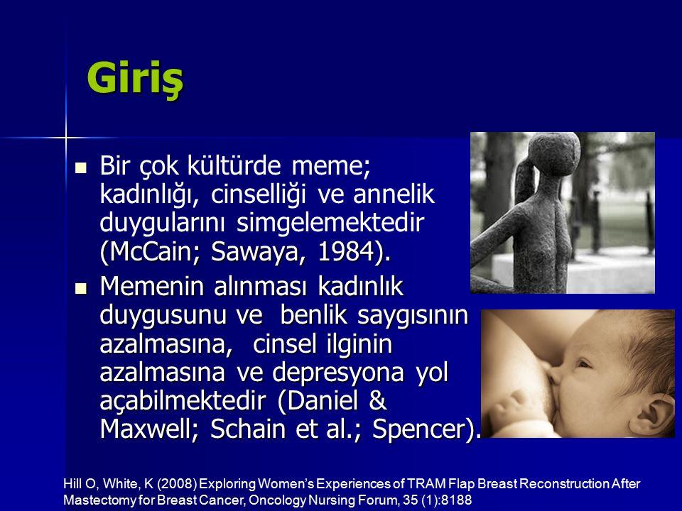 Giriş (McCain; Sawaya, 1984). Bir çok kültürde meme; kadınlığı, cinselliği ve annelik duygularını simgelemektedir (McCain; Sawaya, 1984). Memenin alın