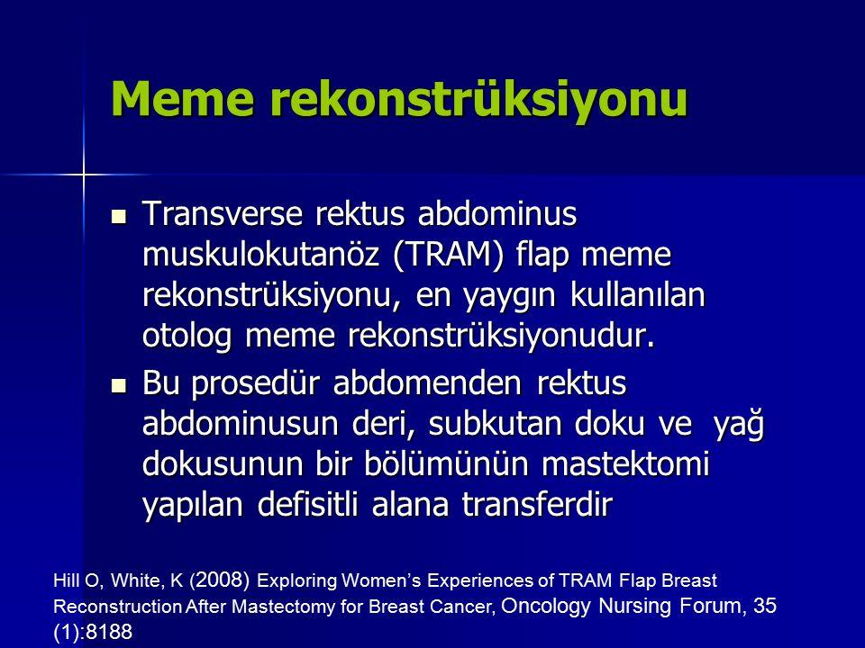Meme rekonstrüksiyonu Transverse rektus abdominus muskulokutanöz (TRAM) flap meme rekonstrüksiyonu, en yaygın kullanılan otolog meme rekonstrüksiyonud