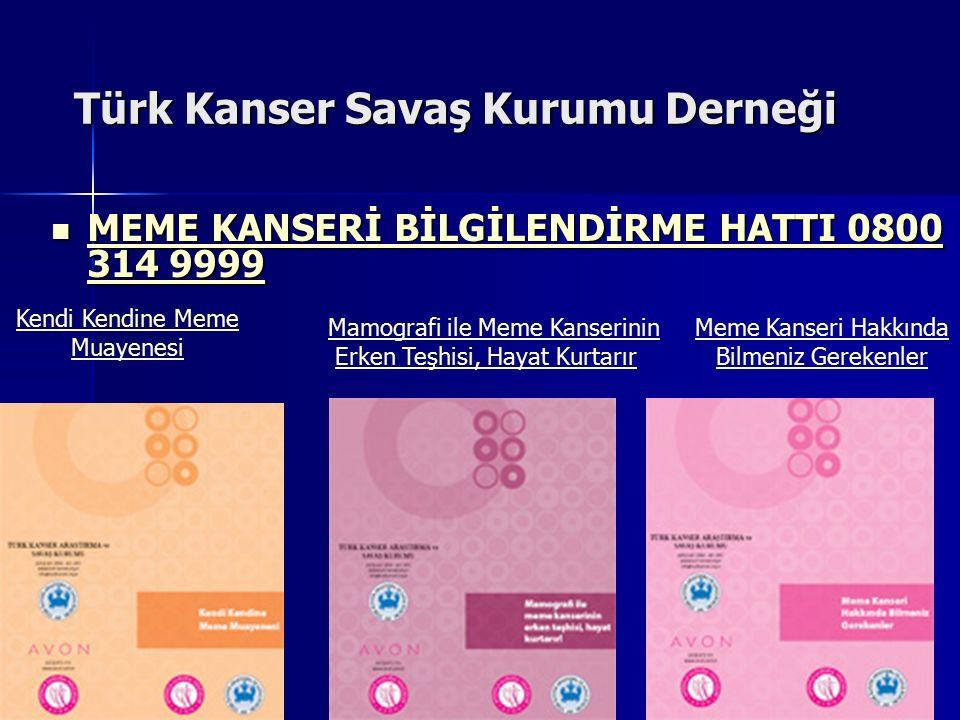 Türk Kanser Savaş Kurumu Derneği MEME KANSERİ BİLGİLENDİRME HATTI 0800 314 9999 MEME KANSERİ BİLGİLENDİRME HATTI 0800 314 9999 MEME KANSERİ BİLGİLENDİ