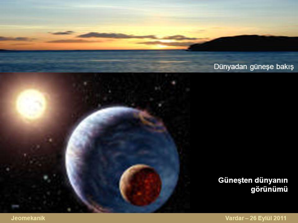Güneşten dünyanın görünümü Dünyadan güneşe bakış Jeomekanik Vardar – 26 Eylül 2011