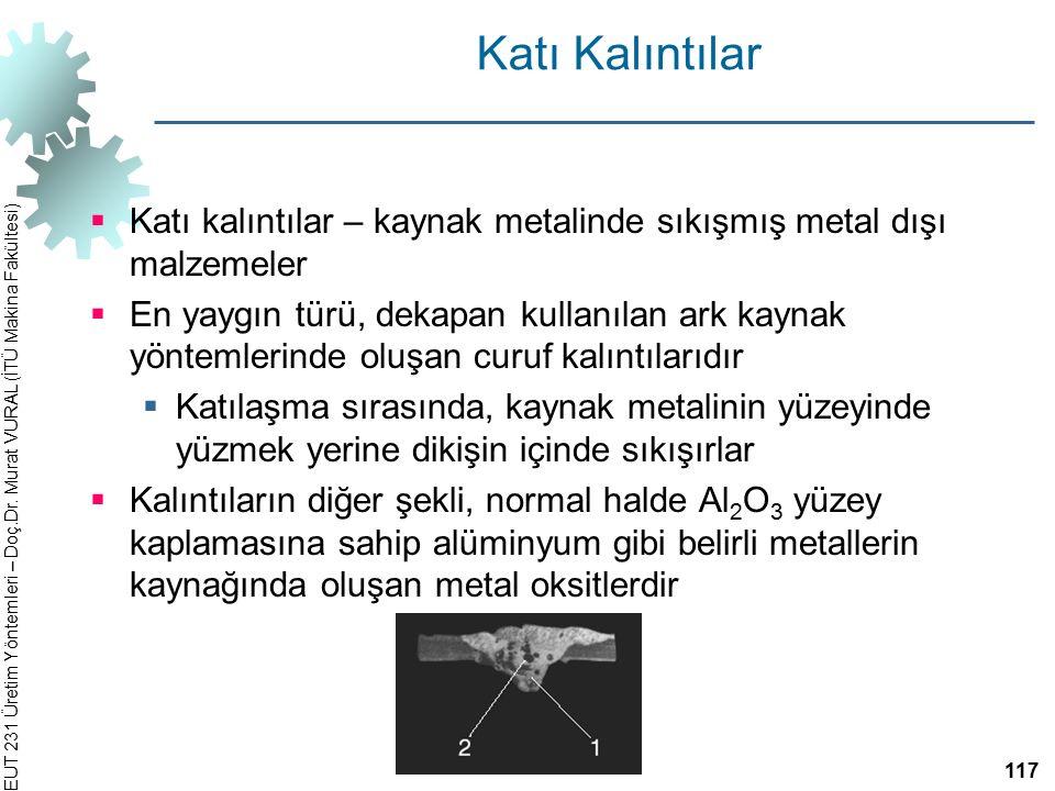 EUT 231 Üretim Yöntemleri – Doç.Dr. Murat VURAL (İTÜ Makina Fakültesi) Katı Kalıntılar  Katı kalıntılar – kaynak metalinde sıkışmış metal dışı malzem