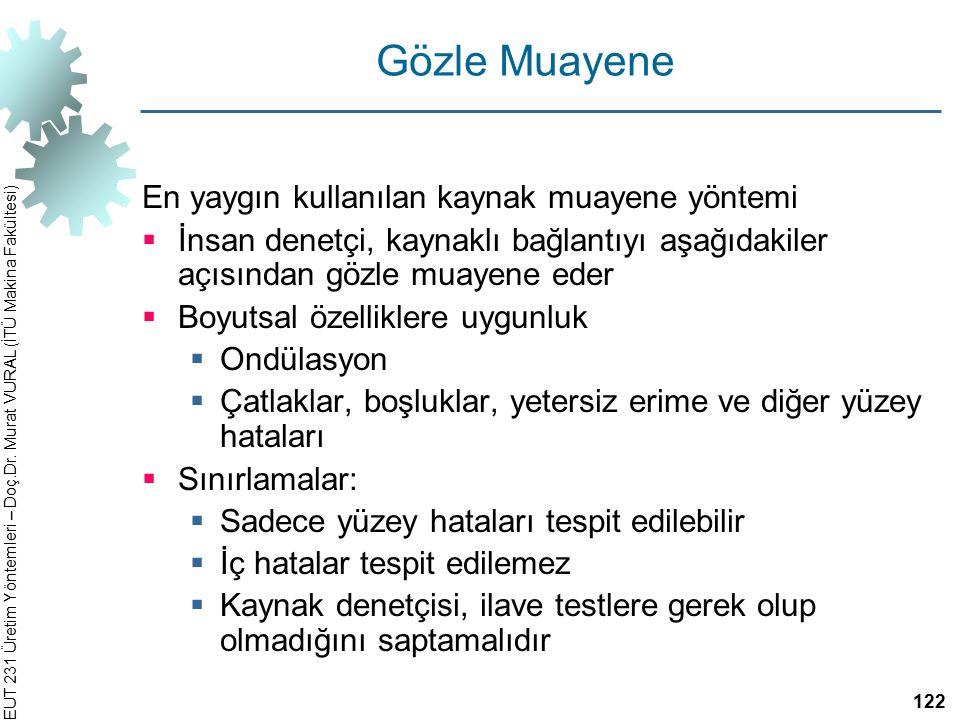 EUT 231 Üretim Yöntemleri – Doç.Dr. Murat VURAL (İTÜ Makina Fakültesi) Gözle Muayene En yaygın kullanılan kaynak muayene yöntemi  İnsan denetçi, kayn