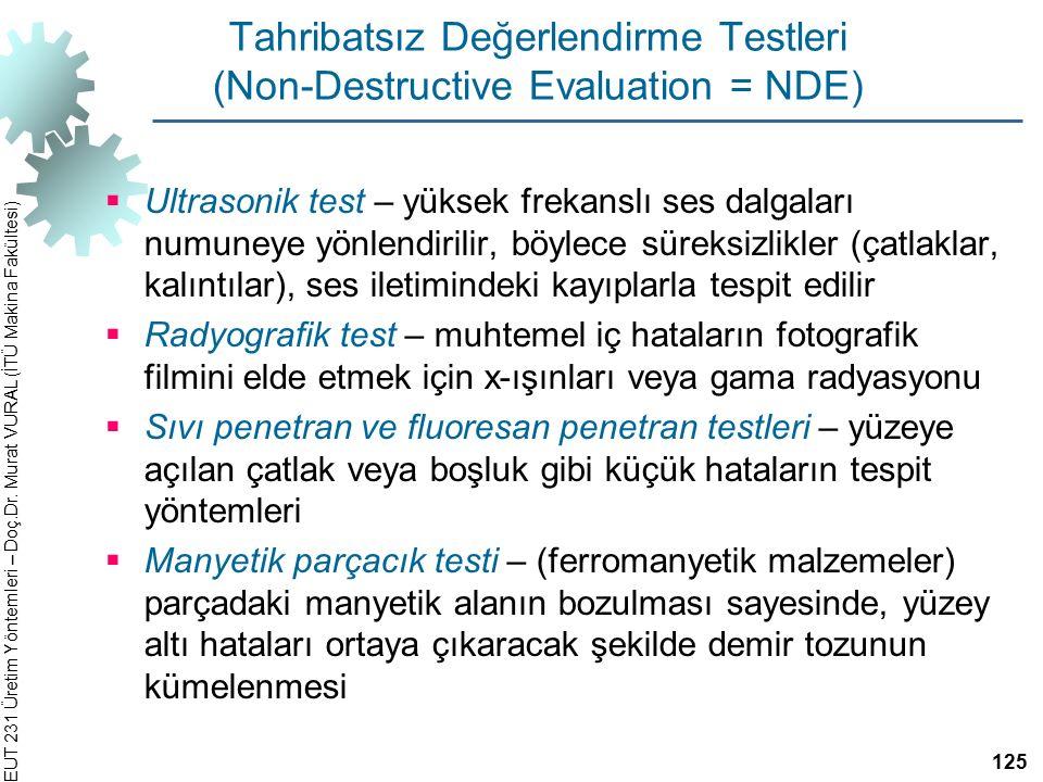 EUT 231 Üretim Yöntemleri – Doç.Dr. Murat VURAL (İTÜ Makina Fakültesi) Tahribatsız Değerlendirme Testleri (Non-Destructive Evaluation = NDE)  Ultraso