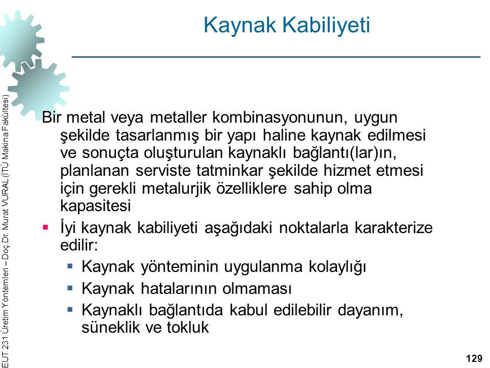 EUT 231 Üretim Yöntemleri – Doç.Dr. Murat VURAL (İTÜ Makina Fakültesi) Kaynak Kabiliyeti Bir metal veya metaller kombinasyonunun, uygun şekilde tasarl