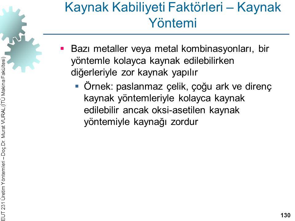 EUT 231 Üretim Yöntemleri – Doç.Dr. Murat VURAL (İTÜ Makina Fakültesi) Kaynak Kabiliyeti Faktörleri – Kaynak Yöntemi  Bazı metaller veya metal kombin