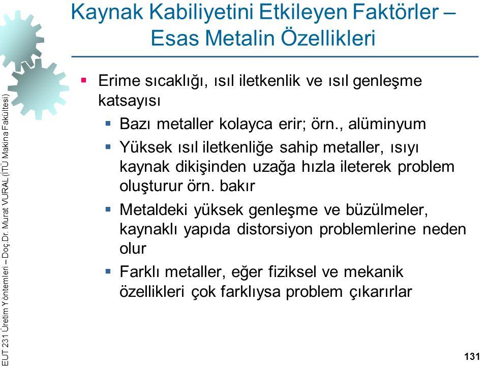 EUT 231 Üretim Yöntemleri – Doç.Dr. Murat VURAL (İTÜ Makina Fakültesi) Kaynak Kabiliyetini Etkileyen Faktörler – Esas Metalin Özellikleri  Erime sıca