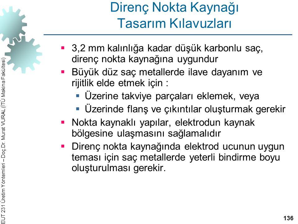 EUT 231 Üretim Yöntemleri – Doç.Dr. Murat VURAL (İTÜ Makina Fakültesi) Direnç Nokta Kaynağı Tasarım Kılavuzları  3,2 mm kalınlığa kadar düşük karbonl